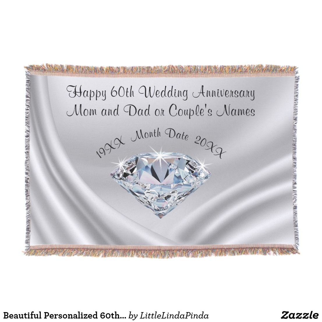 Beautiful Personalized 60th Anniversary Gift Ideas Throw Blanket Zazzle Com In 2020 60th Anniversary Gifts 60th Wedding Anniversary Gifts Anniversary Gifts