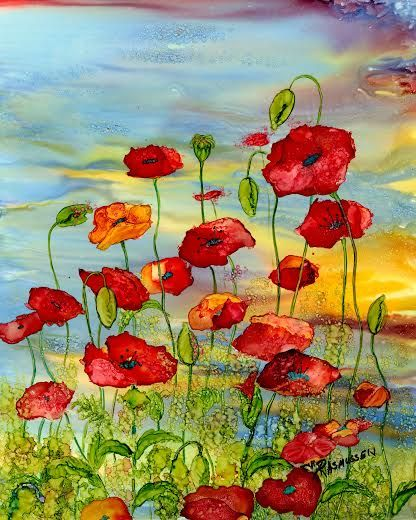 In The Red. Lovely poppy painting. #alcoholinkcrafts