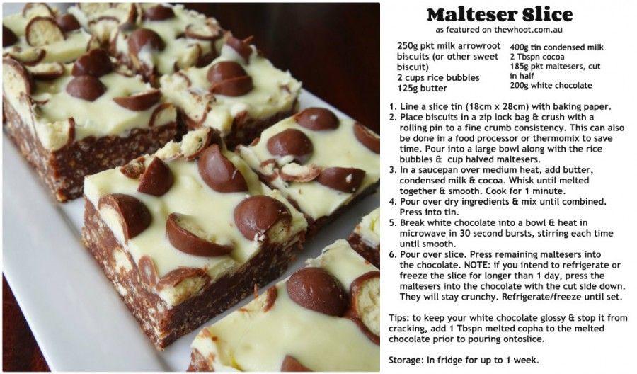 malteser slice 2 recipes to cook pinterest malteser slice cake and yum food. Black Bedroom Furniture Sets. Home Design Ideas