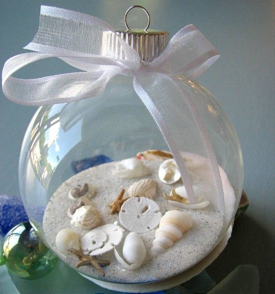 Fill clear glass ornaments with sand and shells homemade for Seashell ornament ideas