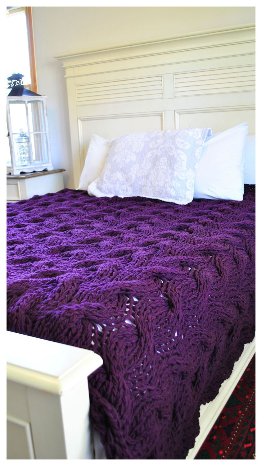 IN STOCK SALE: Queen size Chunky Cable Knit Blanket in deep purple Cabled  Wool Hand Knitted Blanket 1809.234.Q
