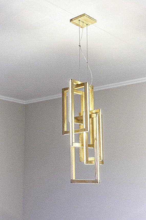 Wooden Chandelier Interlacement Led Loft Light