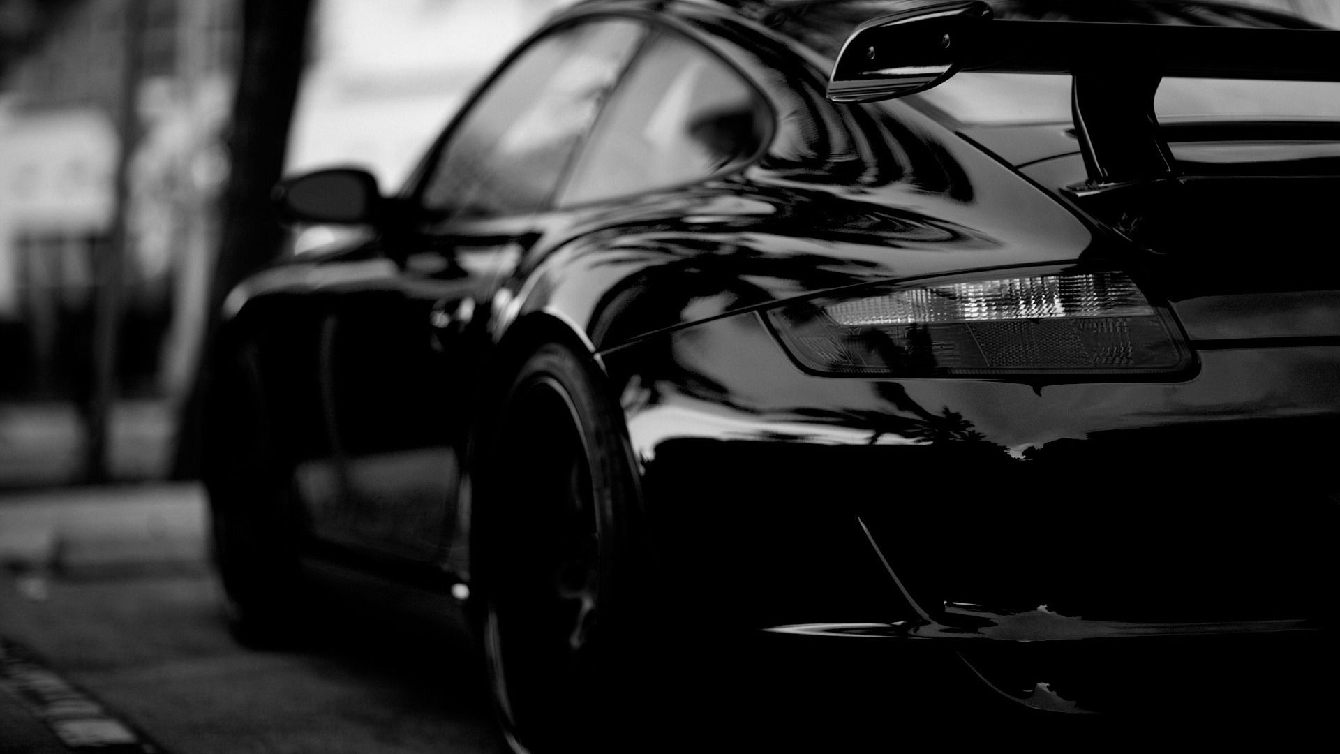 Porsche Car In Black White Hd Wallpaper Jpg 1920 1080 With