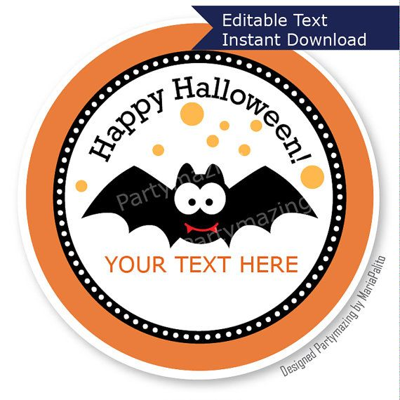 New from Partymazing on Etsy: Printable Halloween Labels Personalized Diy  Tags Happy Halloween Tags Stickers Gift Tags Cupcake Toppers USD) For
