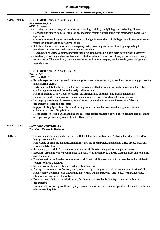 Customer Service Supervisor Resume Customer Service Resume Internship Resume Resume Skills