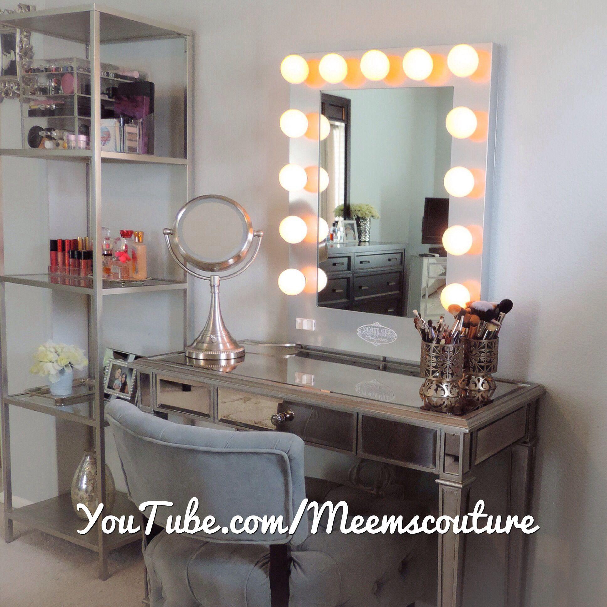 Vanity girl hollywood silver broadway mirror with Hayworth Vanity
