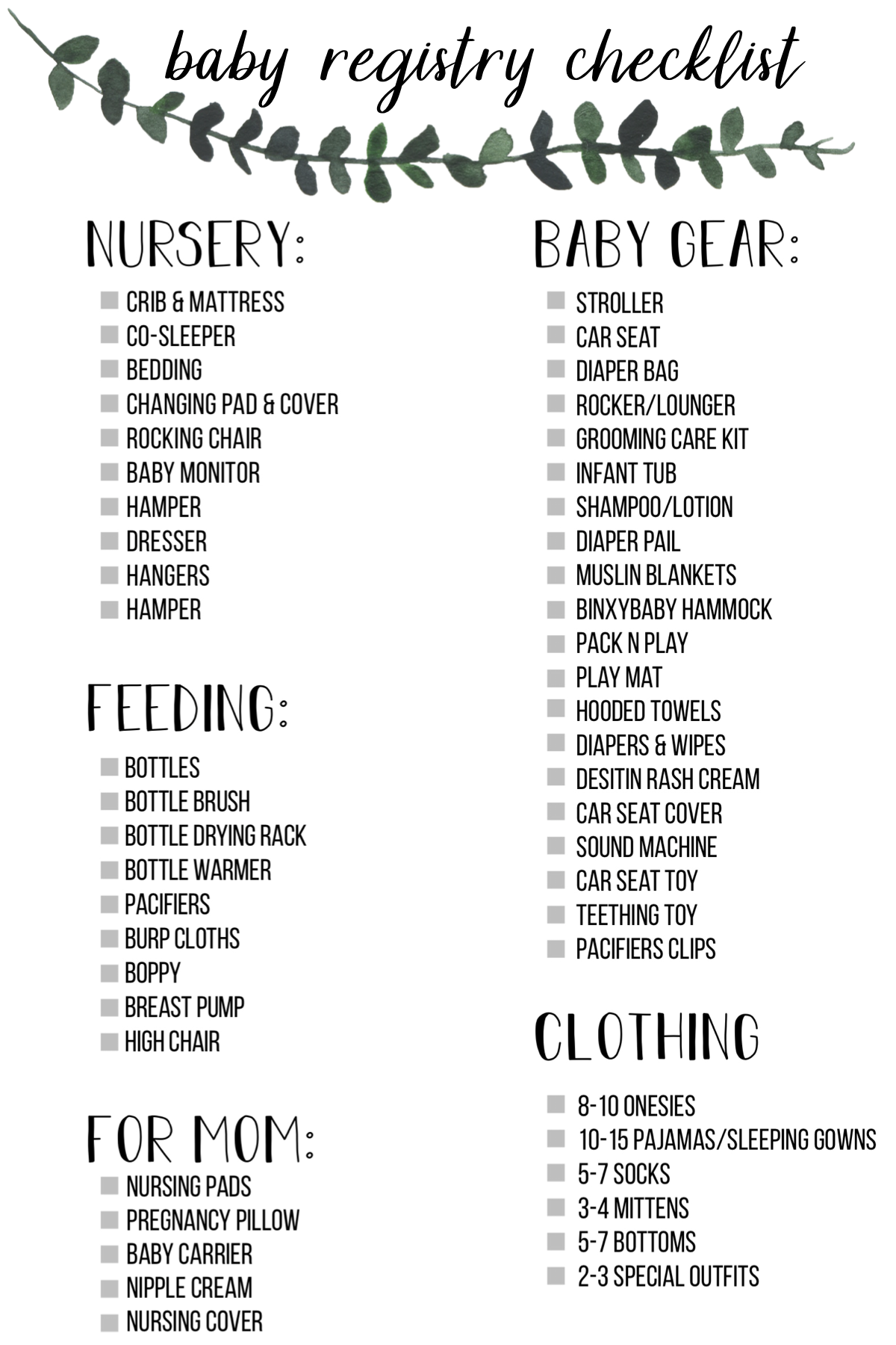 Baby Registry Checklist Must Have Items Baby Registration Baby Registry Baby Registry Checklist