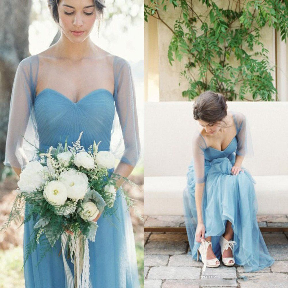 Long Elegant Pleated Strapless Sweetheart Tulle Shawl Blue Simple ...