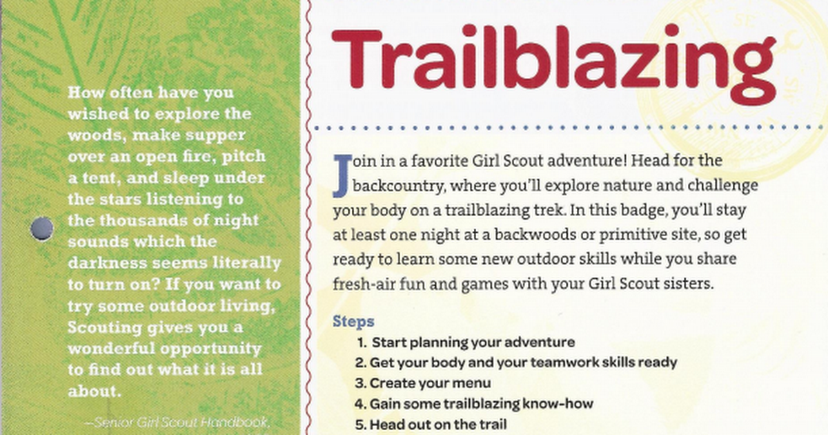 requirements for girl scout trail blazing badge