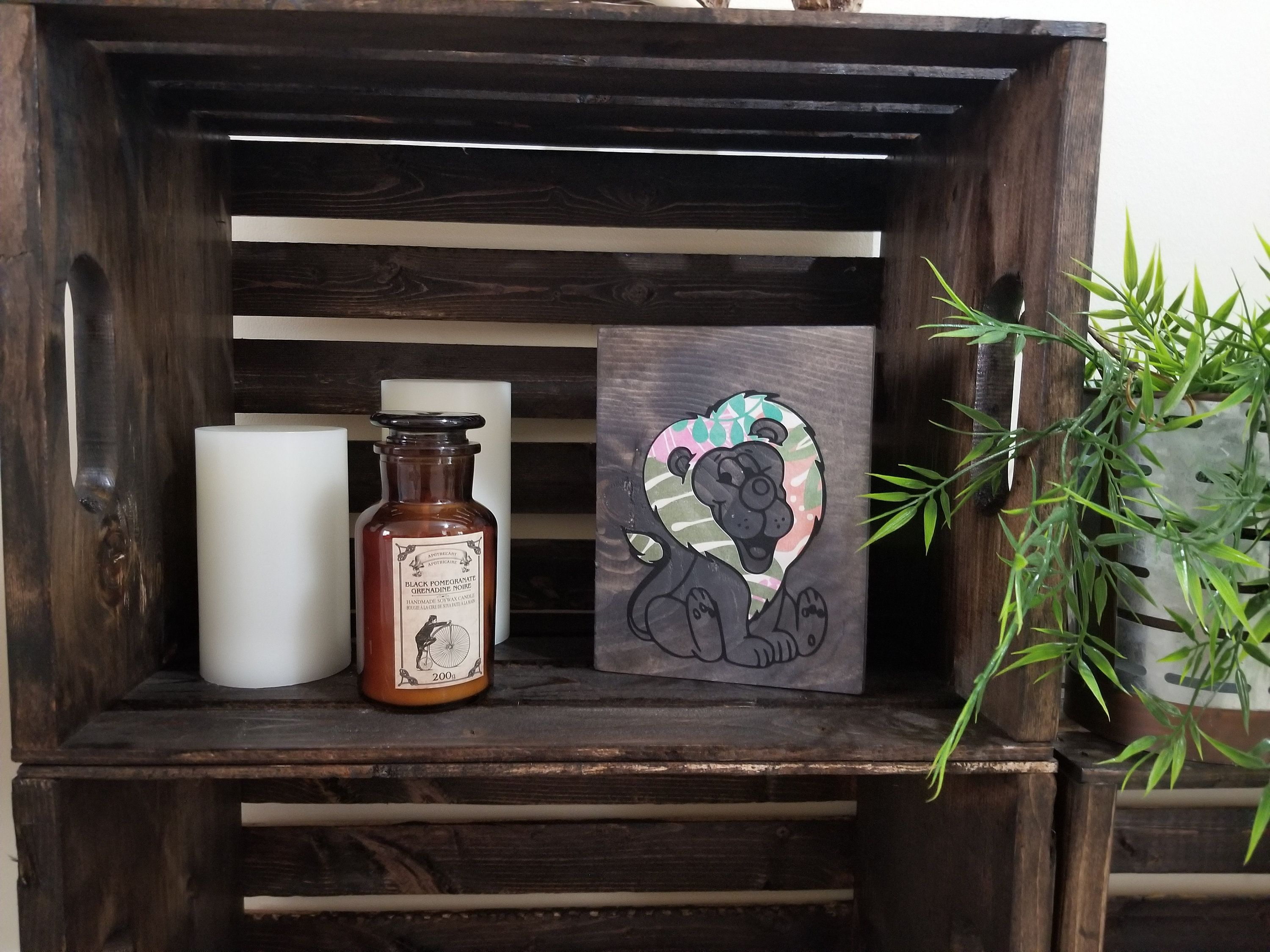 Lion Picture, Floral Pattern, Mixed Media, Rustic Wood Sign, Nursery
