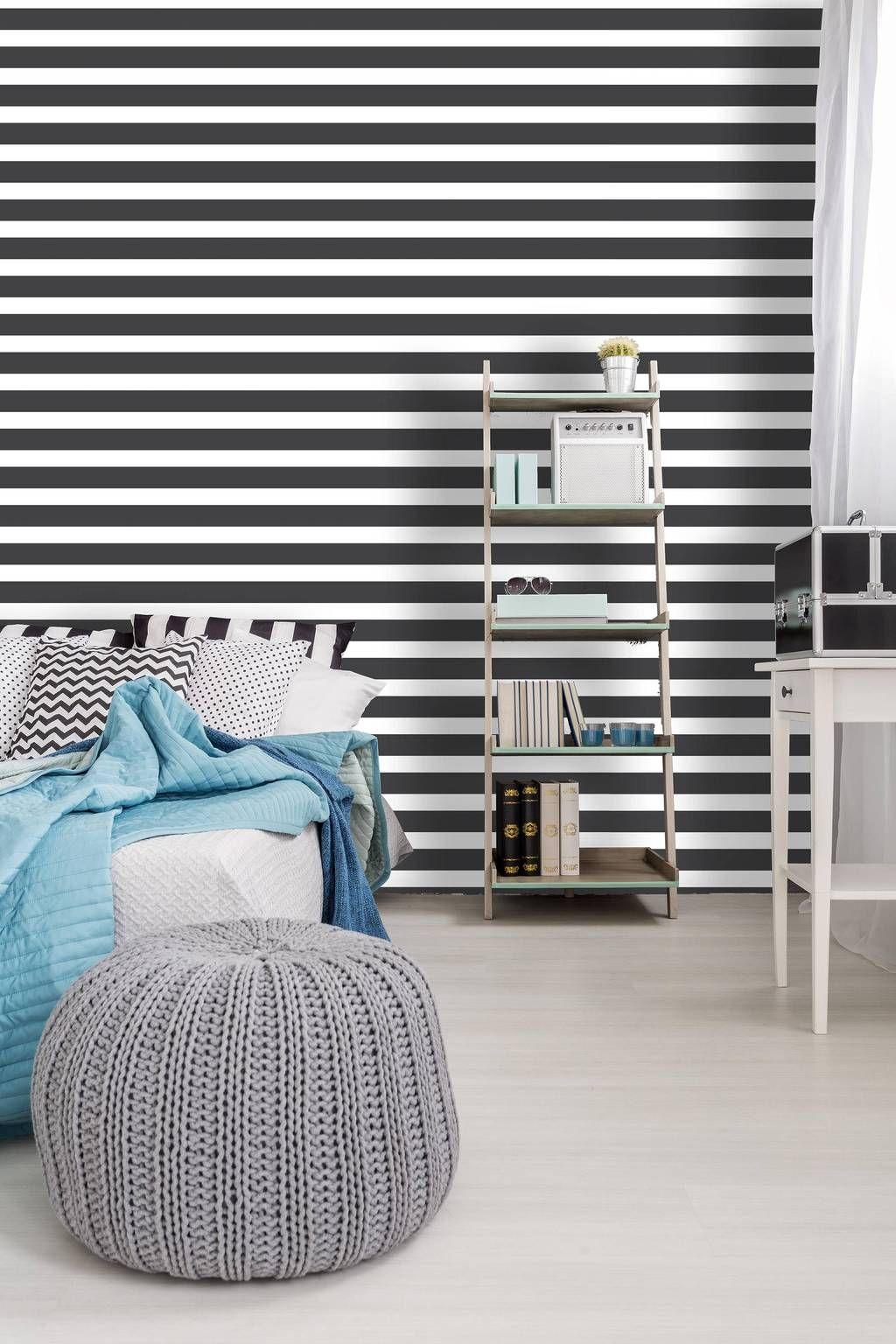 Geometric black and white removable wallpaper design