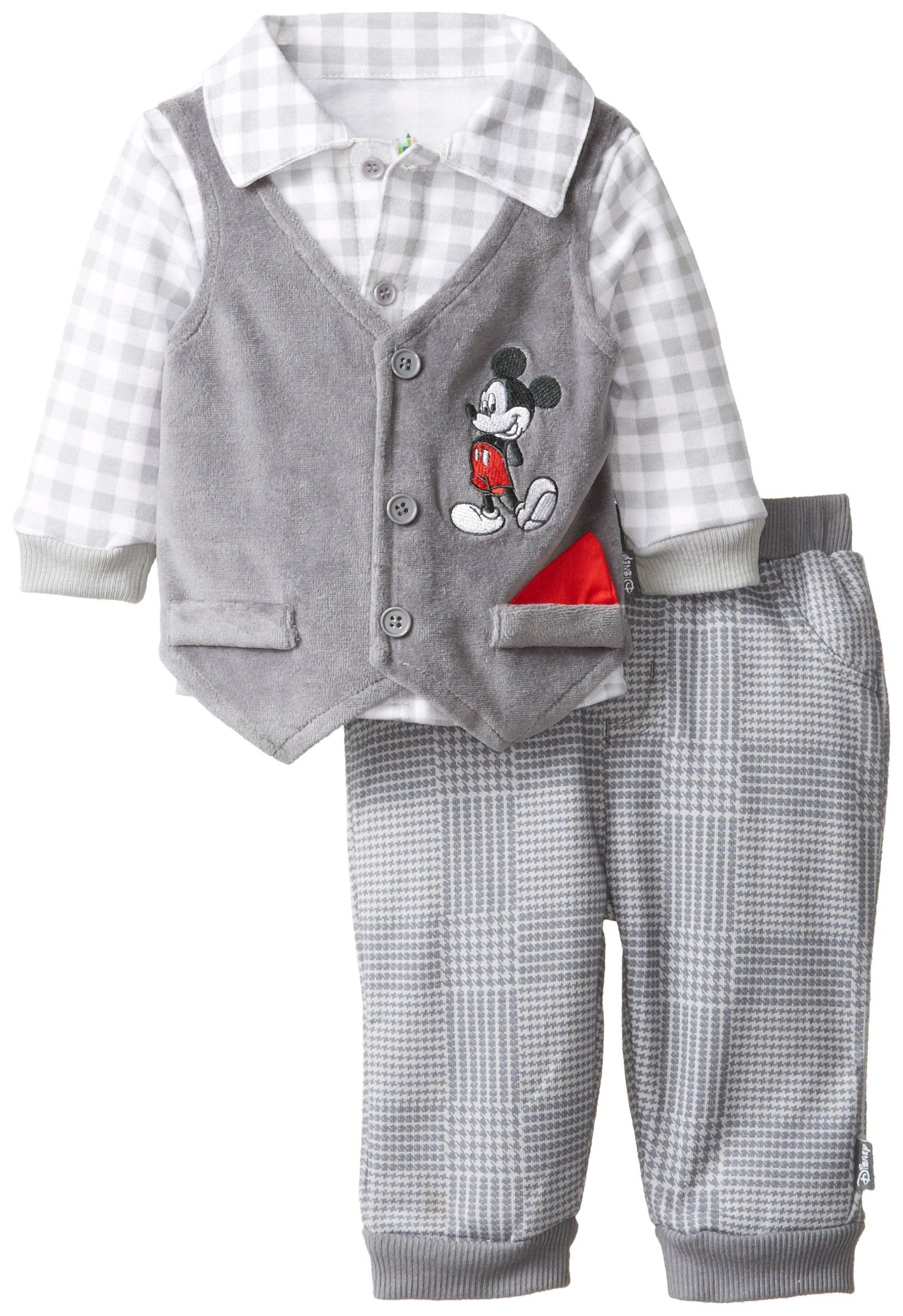 Disney Baby Boys Mickey Mouse 3 Piece Vest Set with Collared Shirt