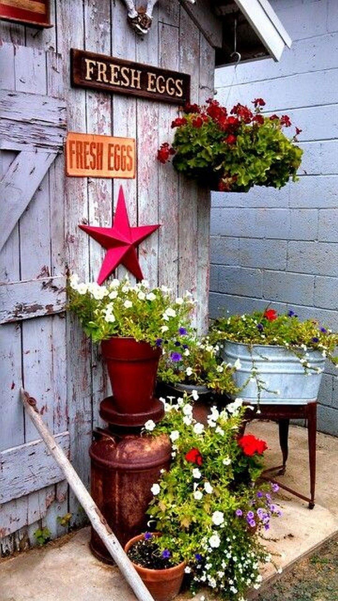 30 Pretty Vintage Garden Decor Ideas For Your Outdoor Space Rustic Gardens Spring Garden Rustic Throw