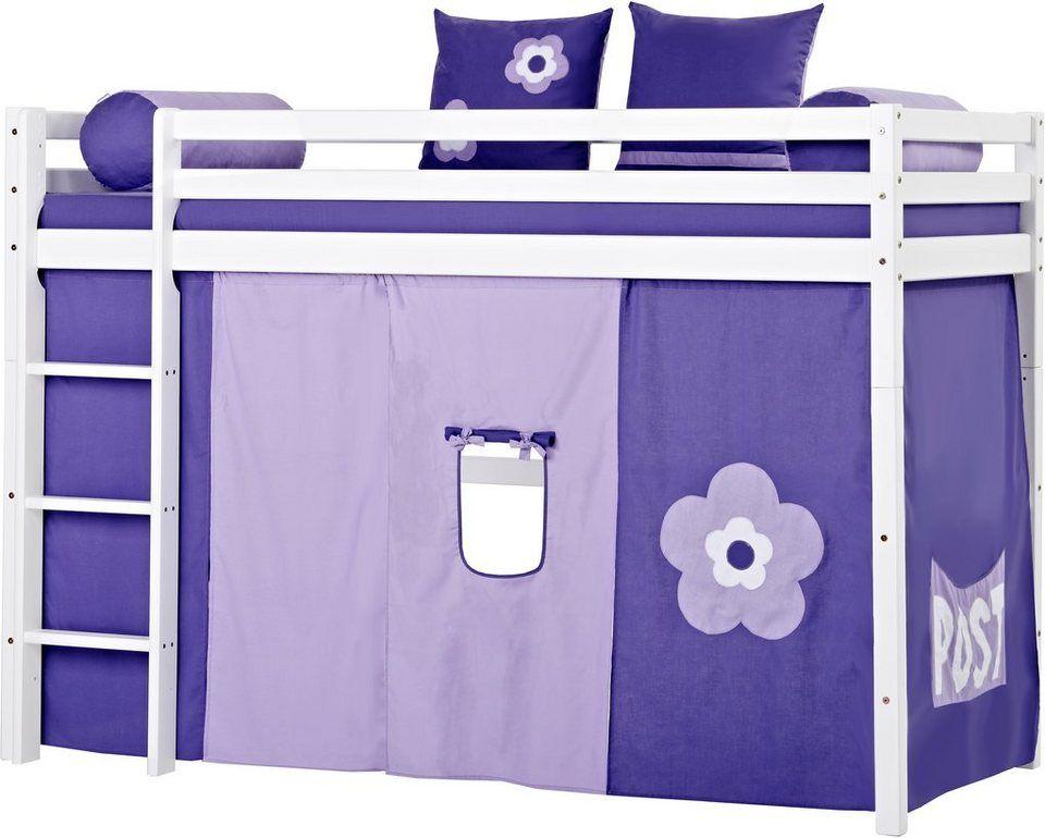 Mittelhohes Hochbett Hoppekids Purple Flower Fur 549 99 Hochbett Inkl Vorhang 1 Matratze Und 1 Rollrost Lila Blumen Motiv Bei Mit Bildern Etagenbett Hochbett Bett