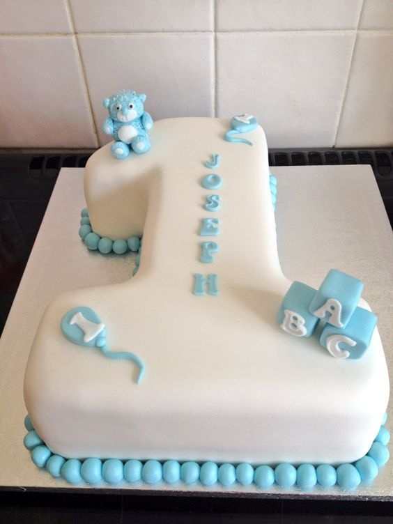 Baby boys 1st birthday number 1 cake #yummiliciouscakes in ...