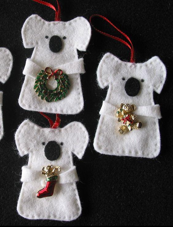 Aussie Felt Koala Christmas Decorations Felt Christmas Decorations Australian Christmas Felt Christmas Ornaments