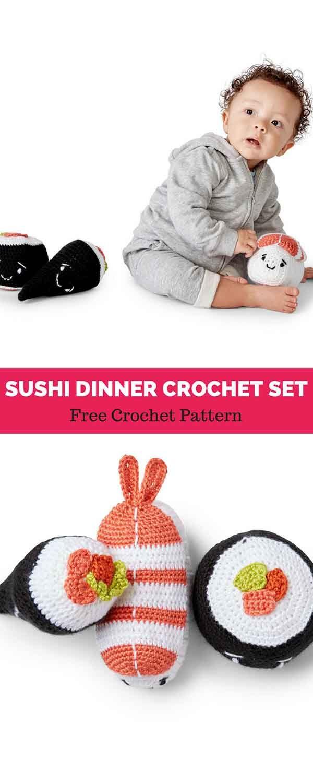 SUSHI DINNER CROCHET SET [ FREE CROCHET PATTERN | Maggie\'s Crochet ...