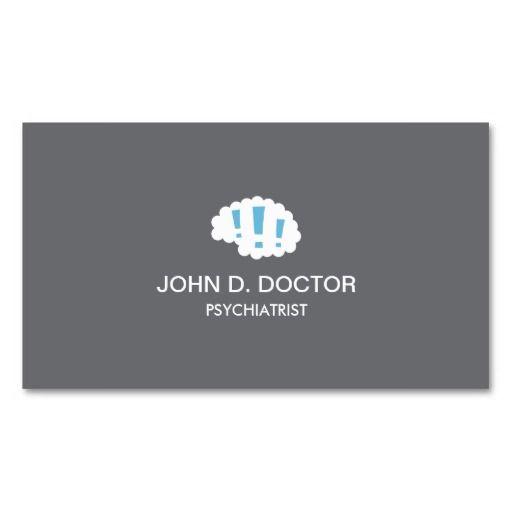 Modern Gray Psychiatrist Business Card With Brain Zazzle Com Medical Business Card Psychology Business Card Doctor Business Cards