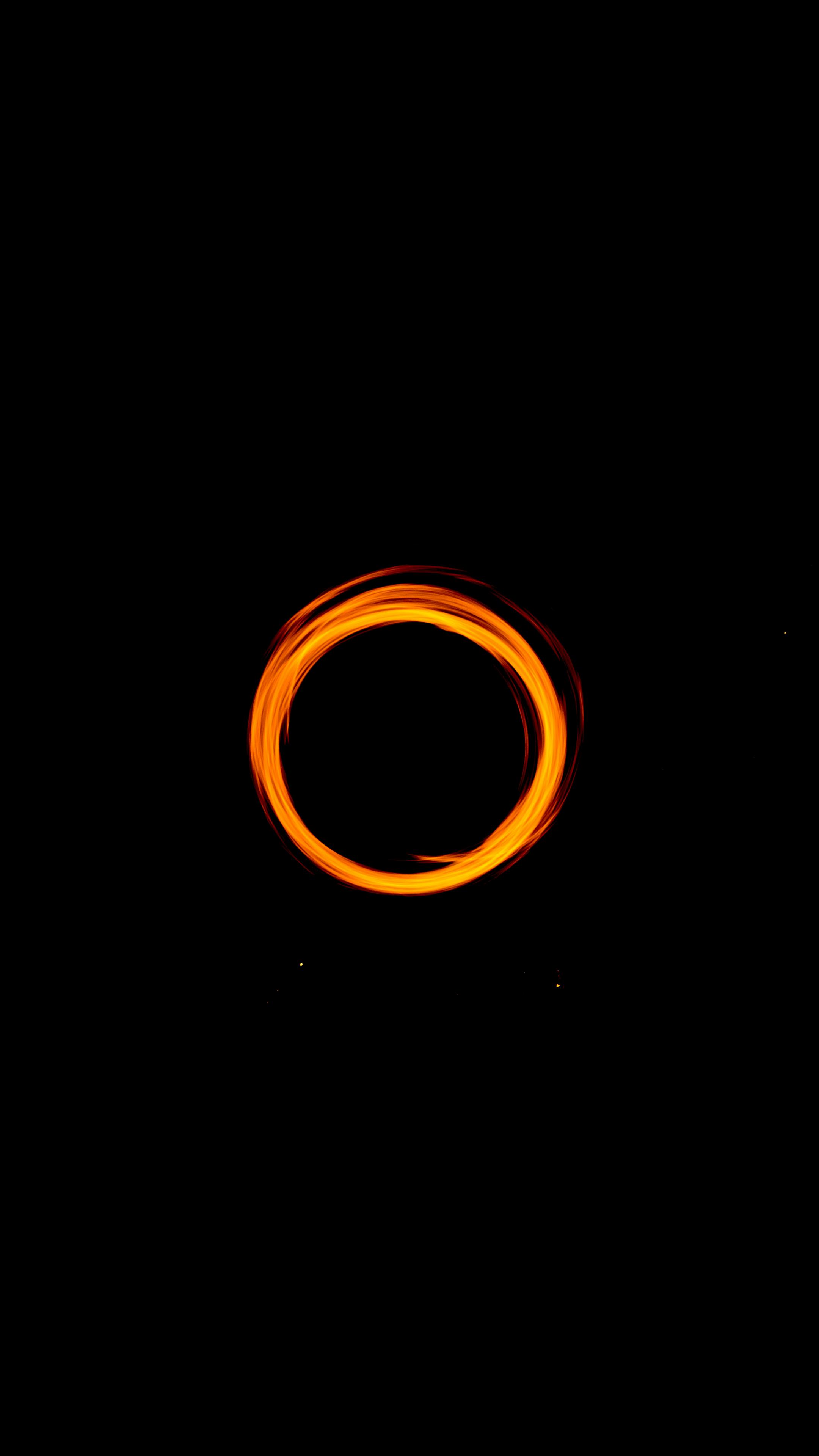 Orange Circle Ring Dark Wallpaper Cover Wallpaper Black Wallpaper