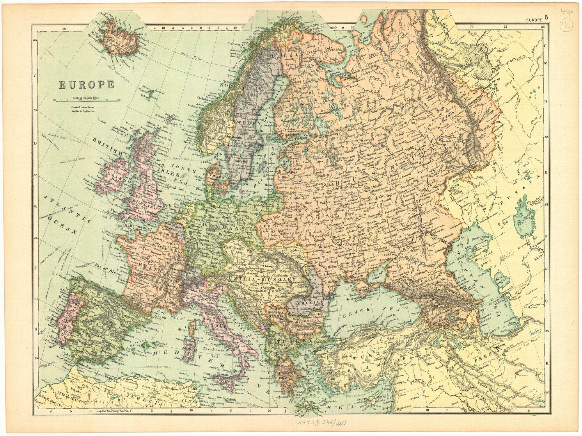 Old Map Of Europe Old Europe Map Map Of Europe Printable Etsy Europe Map Printable Europe Map World Map Decor