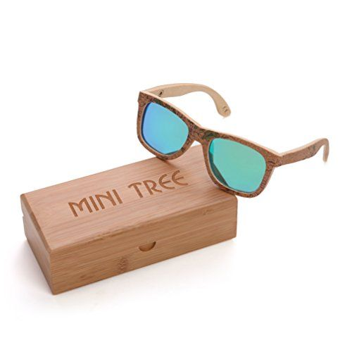 af5997c26cd7 Mini Tree Cork Sticker Bamboo Polarized Sunglasses Wayfarer Eyewear With Bamboo  Case