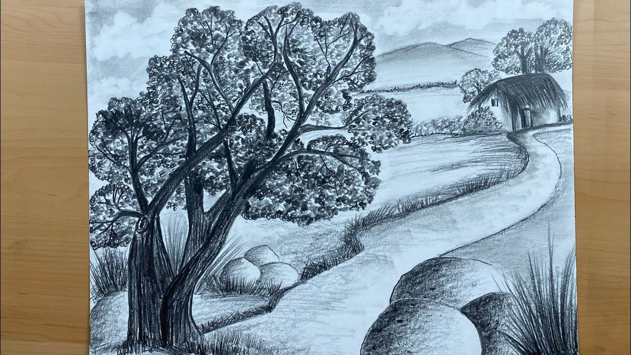 Easy pencil shading landscape 1 scenery step by step