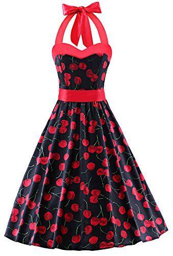c4f0fcc5d09 V Fashion 50s Rockabilly Halter Polka Dots Audrey Dress Retro Cocktail Dress  Cherry Black Large