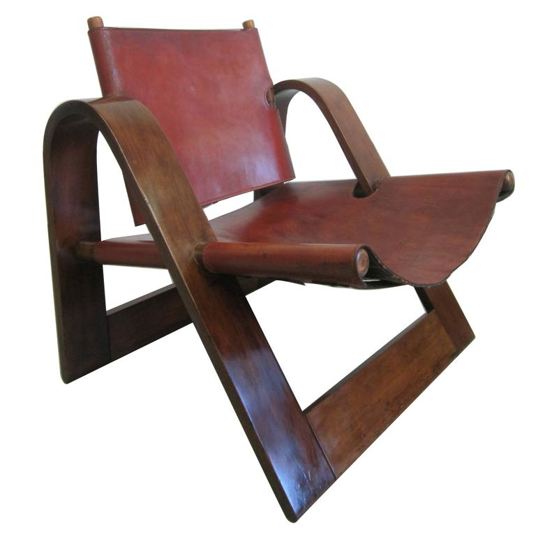 Danish Modern Leather Strap Chair Attributed To Borge Mogensen