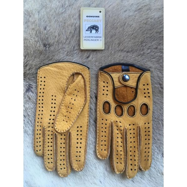 b670a1b6e9477 Men's Peccary Driving Gloves Color Yellow by Hungant | Men's Hats ...