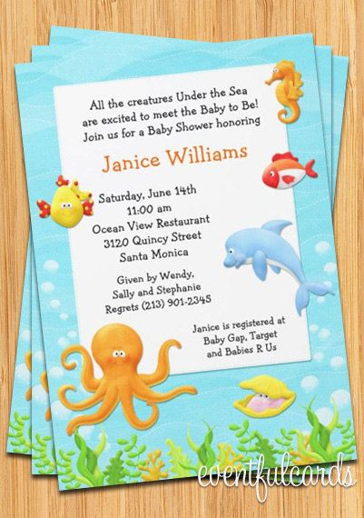 under the sea baby shower invitation | shower invitations,