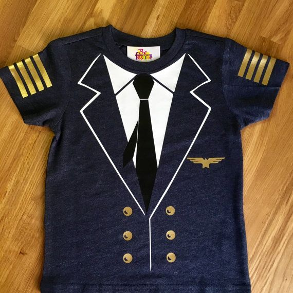 Pilot Halloween Costume Outfit Suit Youth Kids T-Shirt Uniform