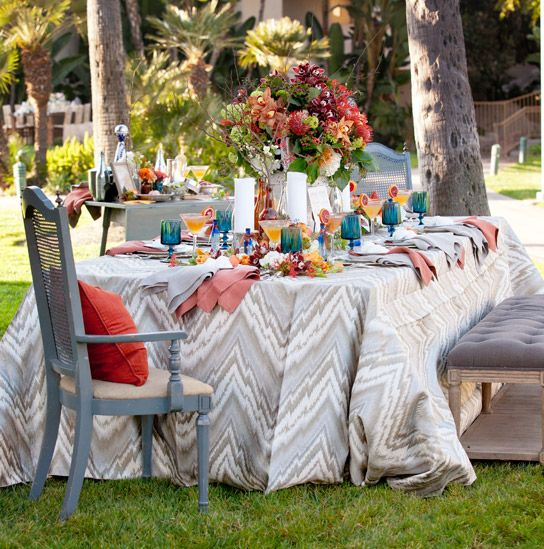 Tabletops: Southwestern Casual Summer Colors Bright Blue Antique Chairs