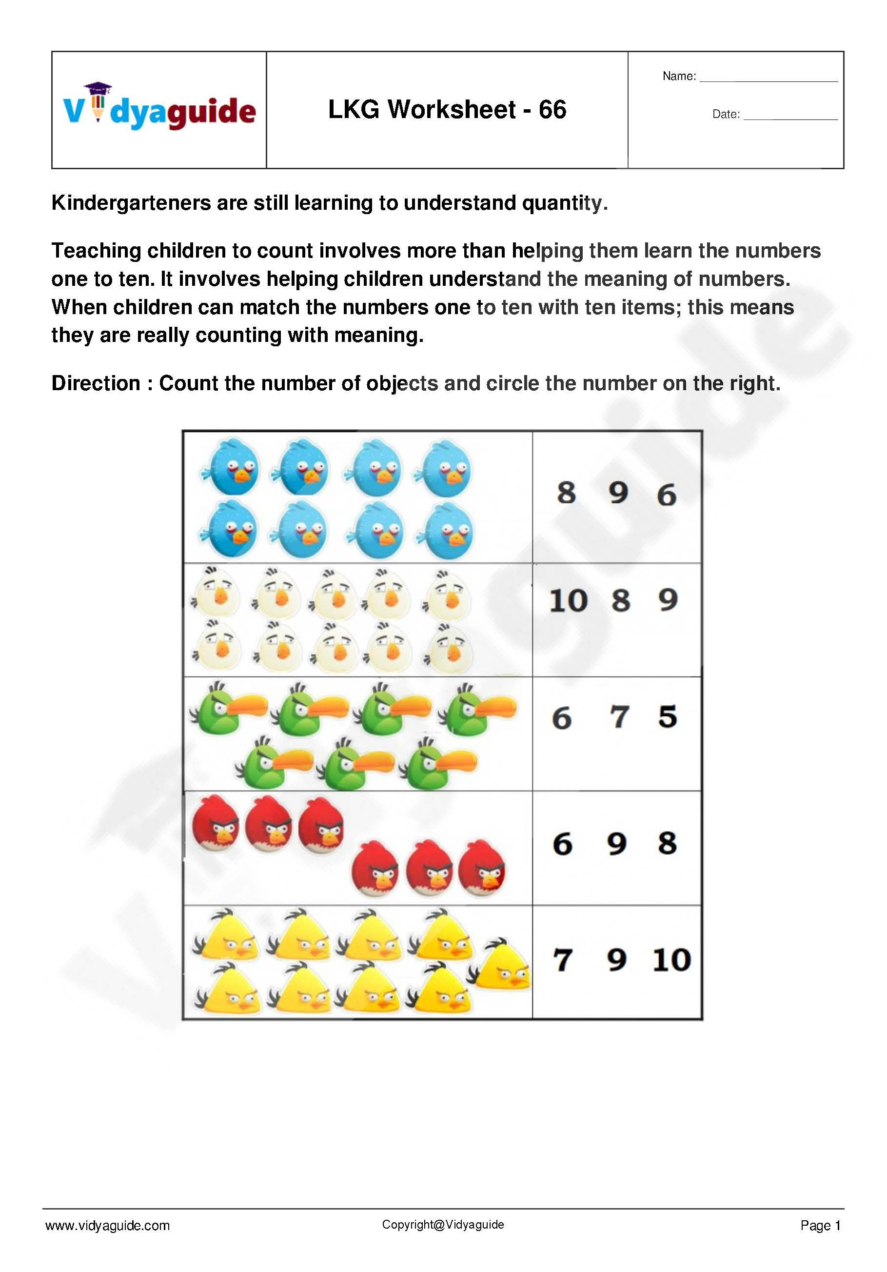 LKG Worksheets Set 14 Download 5 Lower kindergarten (LKG