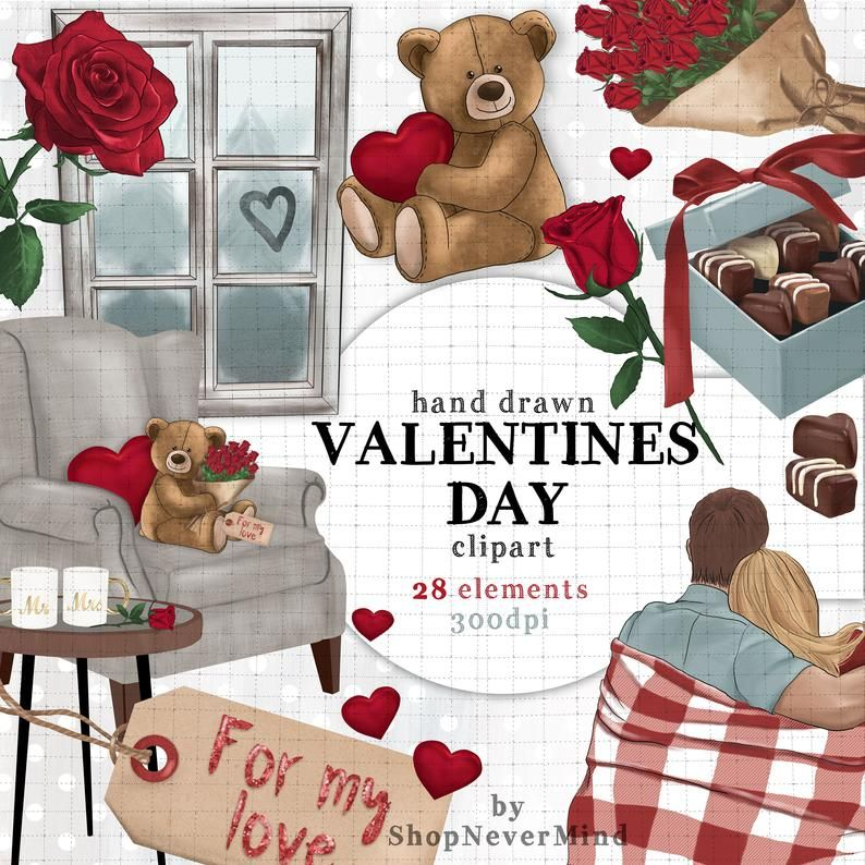 Valentines Day Clipart Anniversary Engagement Couple Scene Etsy Valentines Day Clipart Valentines Wallpaper Clip Art