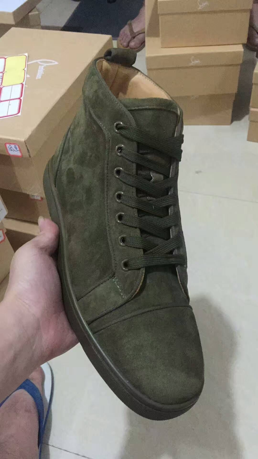 6a1942e2973c christian louboutin green suede high sneakers  christianlouboutinsneakers