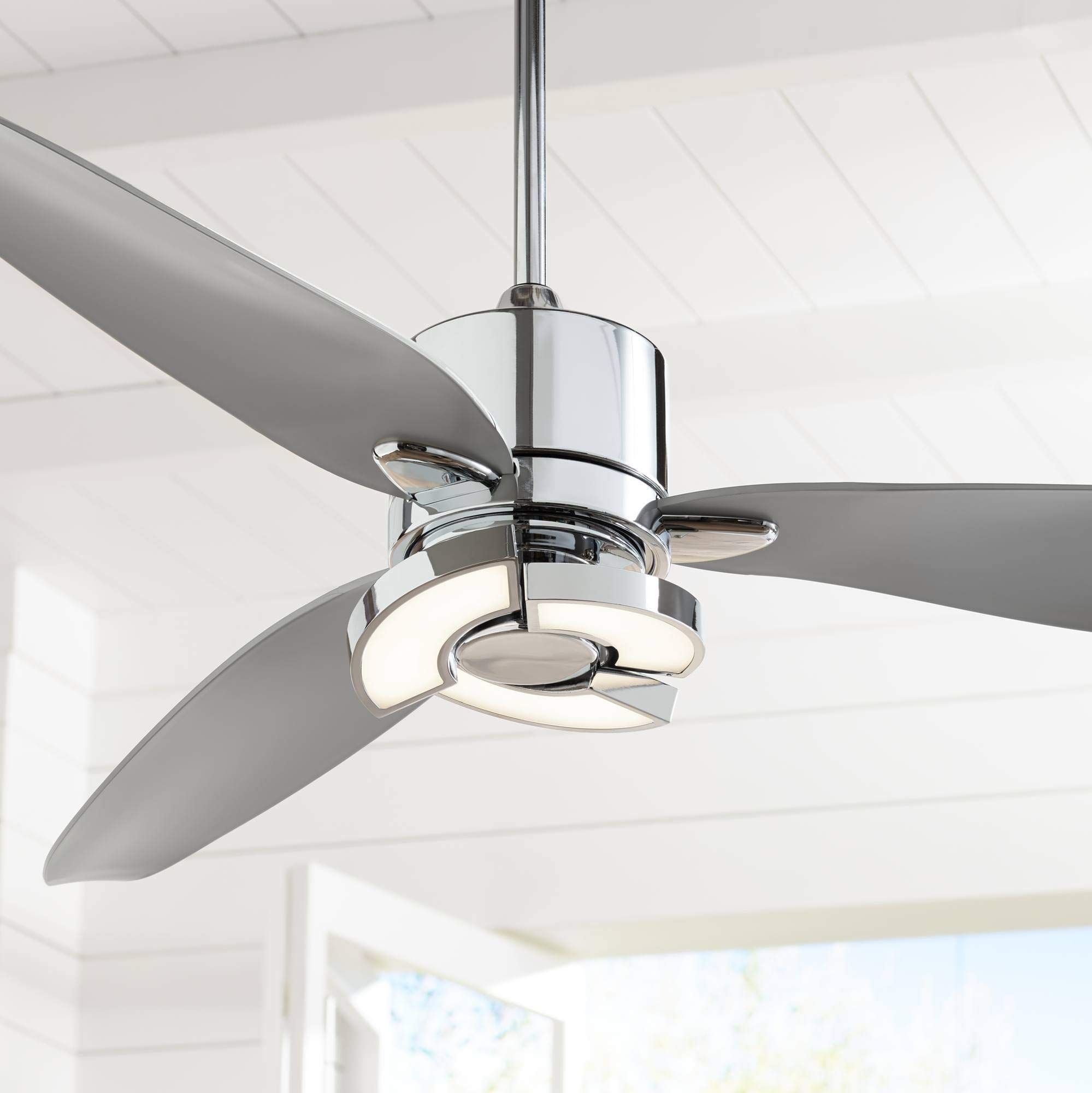 56 Vengeance Modern Ceiling Fan With Light Led Remote Control Chrome Curved Blades For Living Room Kitchen Bedroom