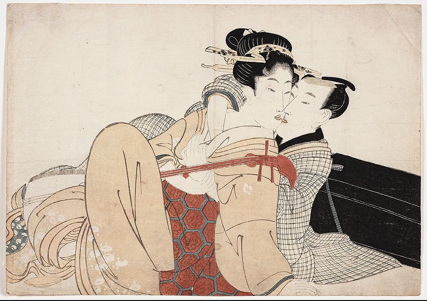 Kikugawa Eizan - Shamisen Player and Her Lover - This print has been elsewhere identified as an Kitagawa Utamaro due to the fact that Eizan's depictions of women hew so closely to the master's style. However, this scene of a courtesan and her lover with a shamisen (a traditional Japanese musical instrument often played by women in the pleasure quarters of Edo) comes from an untitled series of 10 known prints by an unidentified publisher, all of which date to the period ca. 1809–1813.