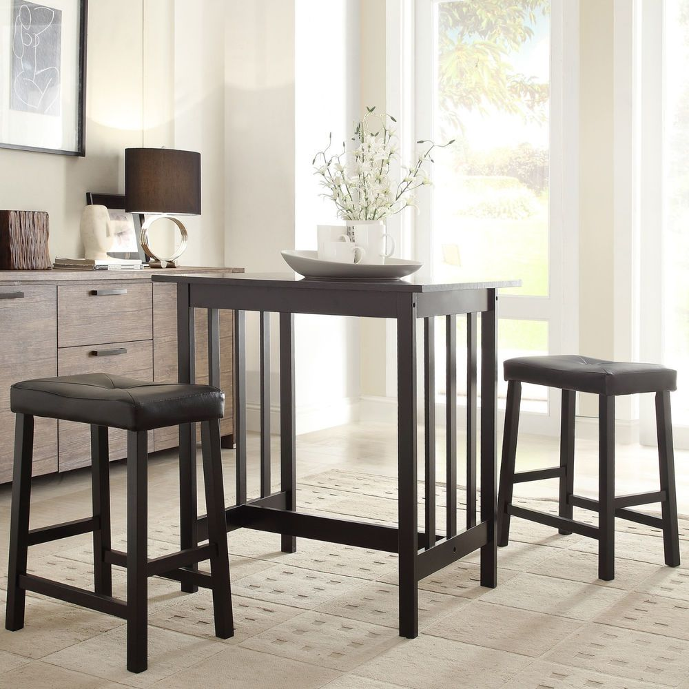 Bar height kitchen island  Kitchen Piece Dining Set Table Pub Bar Stools Furniture Counter