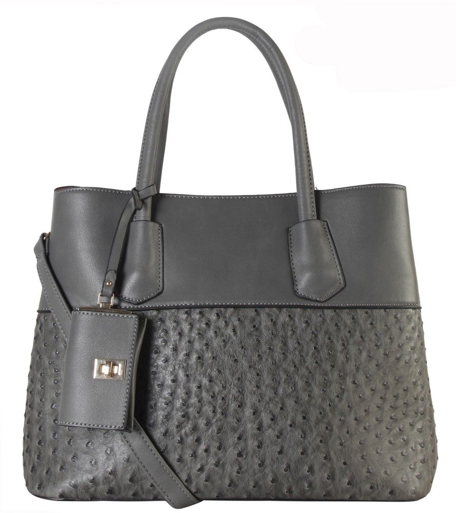 """DESIGNER MIX PU LEATHER FASHIONABLE TOTE BAG OR-3806 - 4 different colors: Black, Brown, Grey and Taupe  - Zipper Closure, Fabric Lining  - Material: PU Faux Leather  - 2 Main Compartment  - 2 Open Pockets Inside  - 1 Zippered Pocket Inside.  - Length 13.6"""" x Width 6.2"""" x Height 10.4"""""""