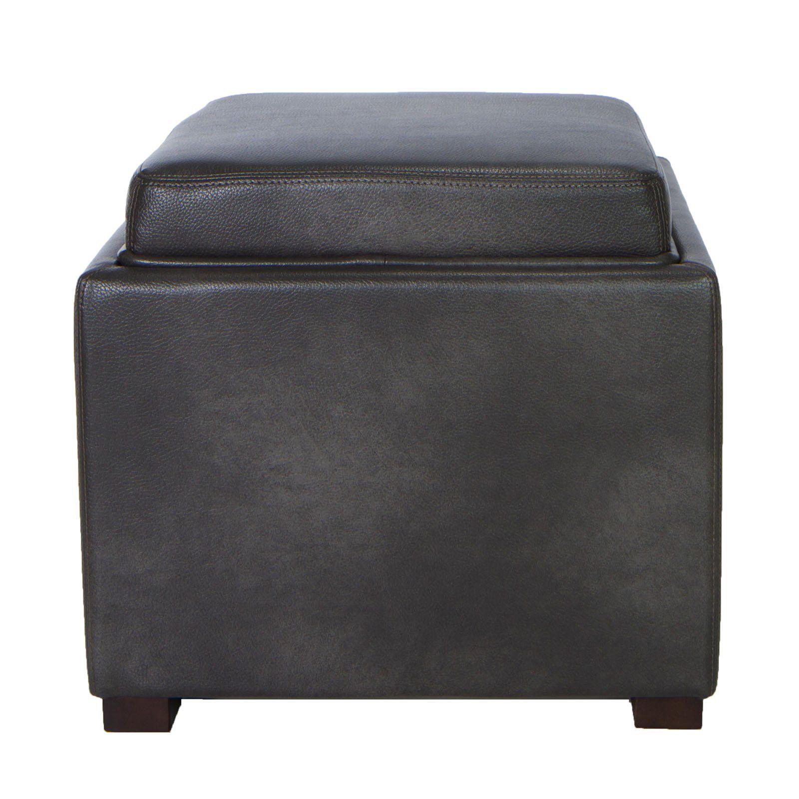Cortesi Home Mavi Grey Top Tray Storage Cube Ottoman Storage