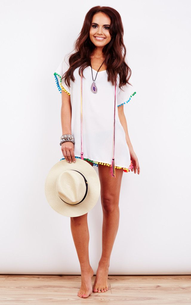 892611a26f5d White Rainbow Pom Pom Kaftan - by BeachHeart at SilkFred Perfect for  festivals and pool parties. Holiday wardrobe essential for Ibiza, Bali, Las  Vegas, ...