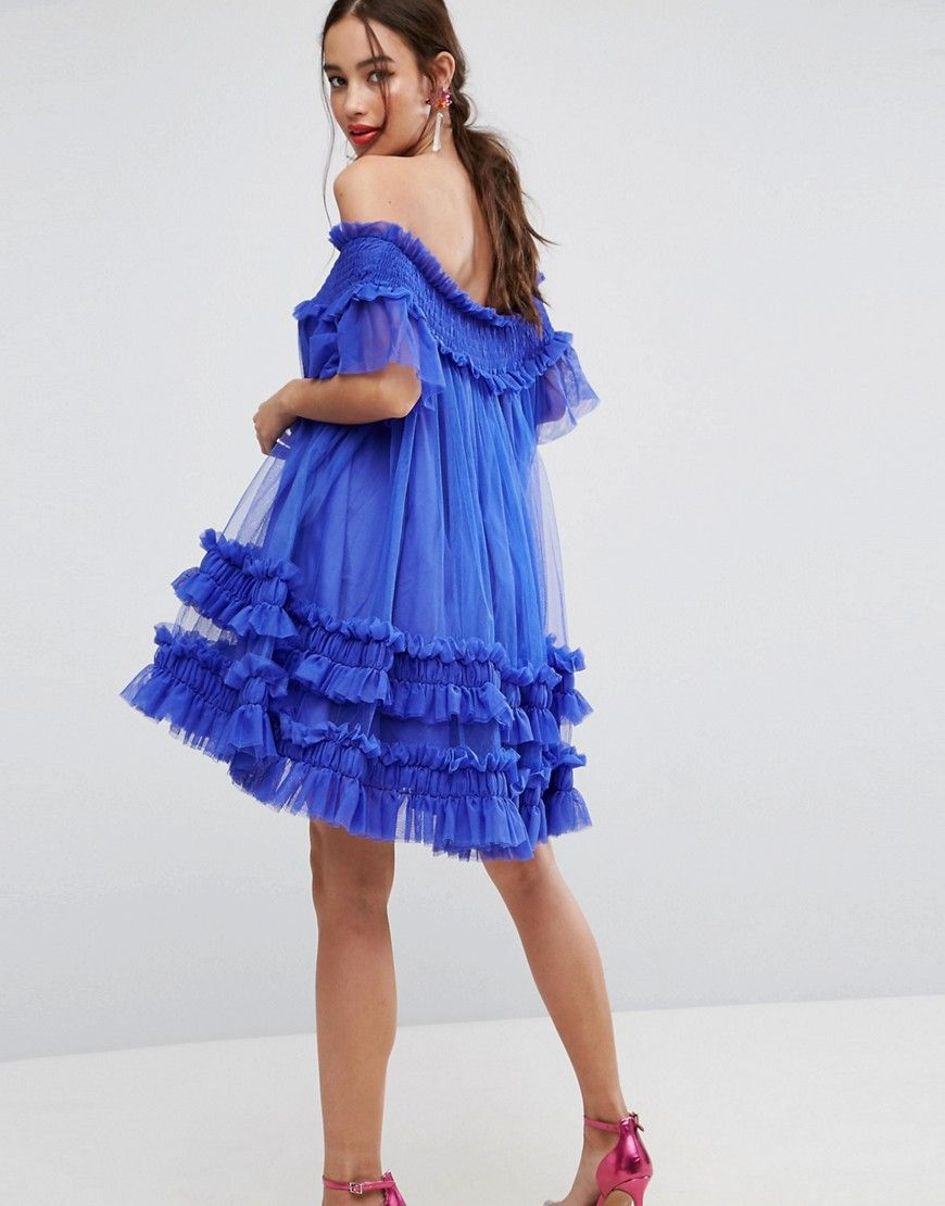1d0c47dfbb4a ASOS Bardot Tulle Ruched Mini Dress - Blue | fashion in 2019 ...