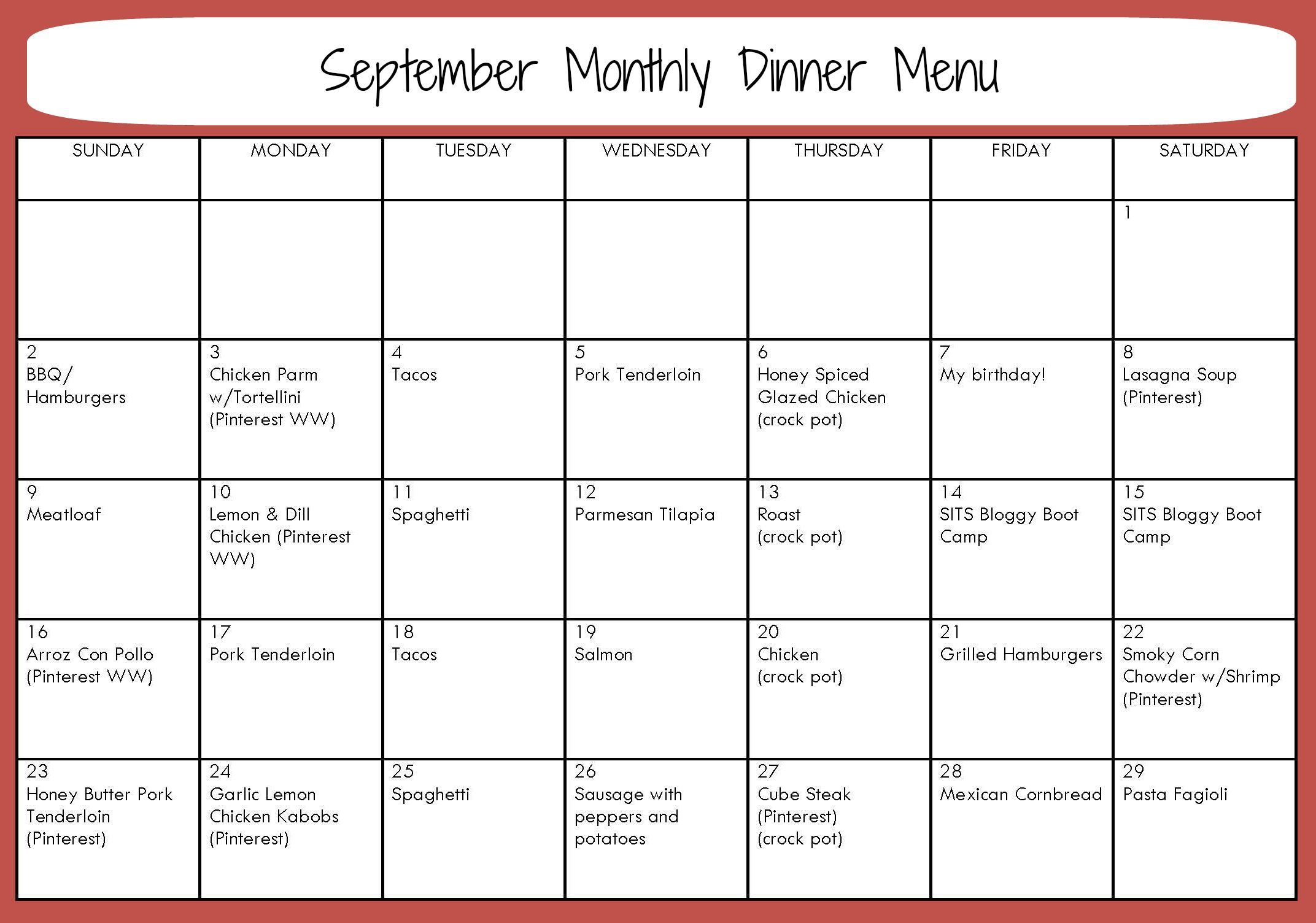 Monthly Dinner Menu for September with links to recipes