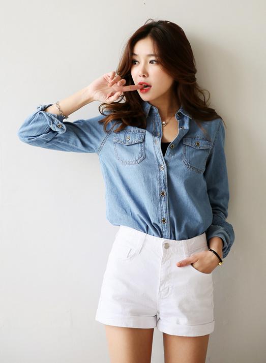 Denim shirt + white shorts