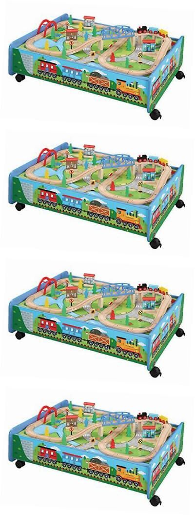Brio Compatible 16517: 62 Piece Wooden Train Set With Train Table Trundle    Brio And