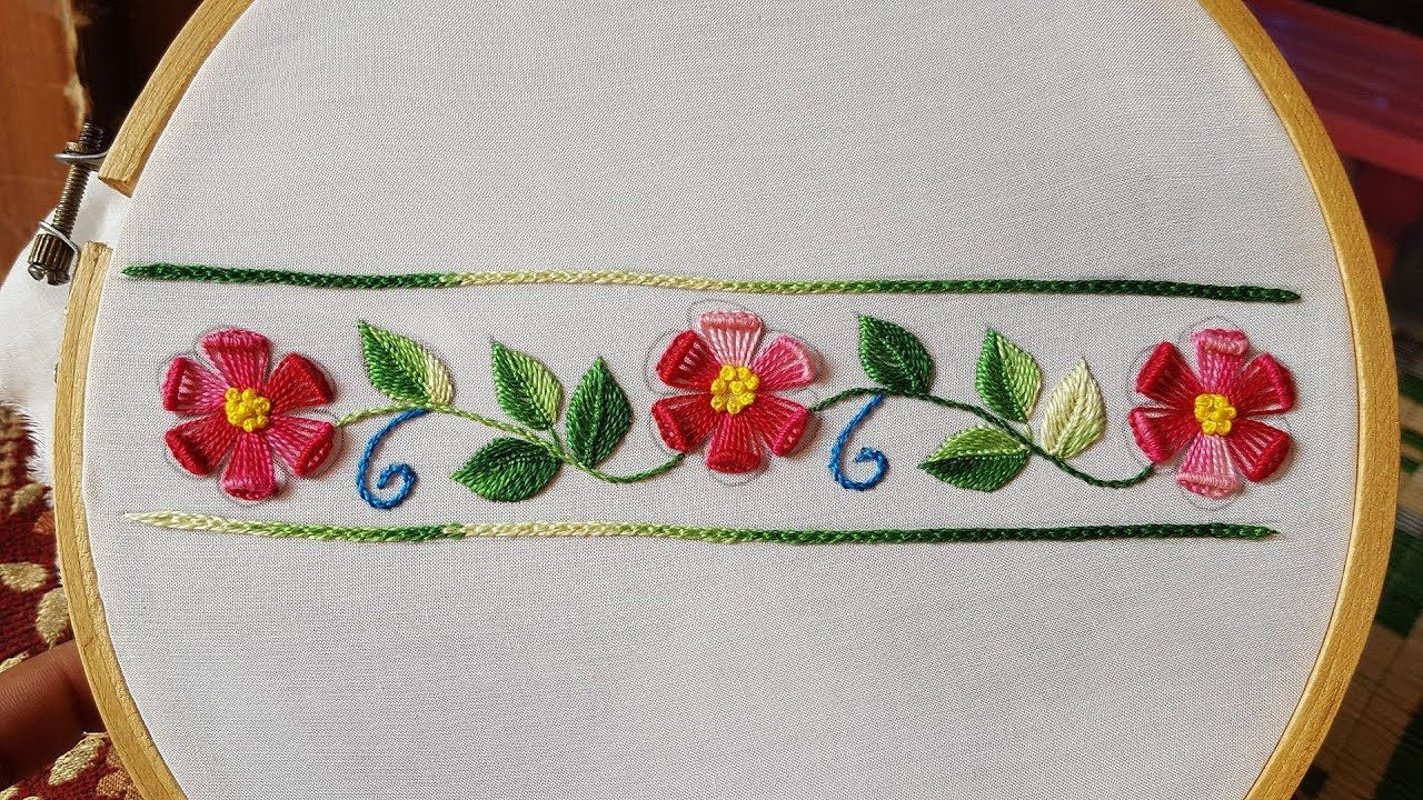 Hand embroidery:border(Daman) embroidery for kurtis/kameez/blouse ...