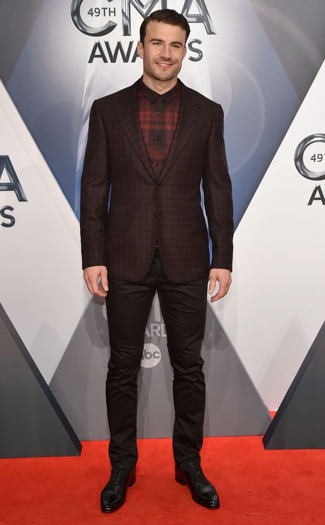 Sam Hunt from 2015 CMA Awards Red Carpet Arrivals  Props to Sam for wearing some fall-forward plaid.