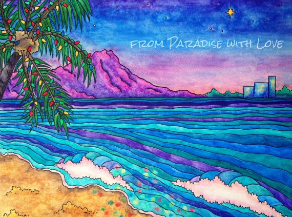 Waikiki Christmas - Hawaii - Tropical Beach Holiday - Palm Tree