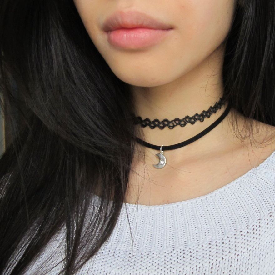 Choker Necklace Tumblr Fashion Outfits Accessories Chokers