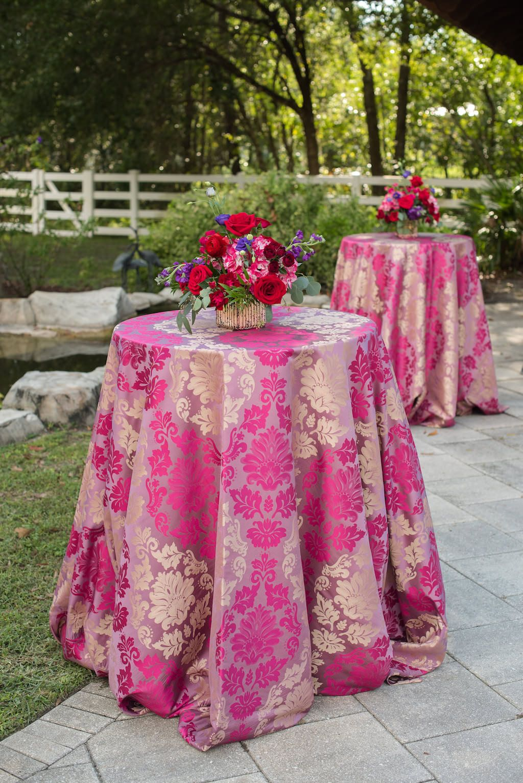 b8a2c458c Colorful Outdoor Wedding Cocktail Reception Decor with Centerpieces with  Red Roses